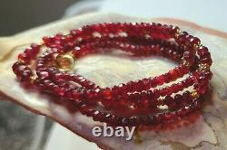 RARE GENUINE RUBY RED FACETED SPINEL BEADs 14K GOLD NECKLACE 20 100% NATURAL
