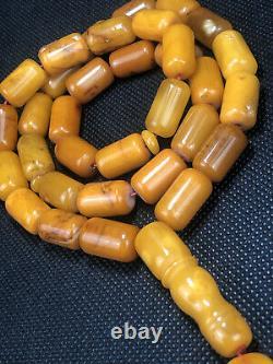 RARE GERMAN ANTIQUE STONE Natural Baltic Amber Prayer Beads 52g