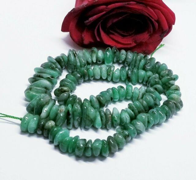 Rare Green Emerald Nugget Beads 262cts 10-14mm 16 Strand Natural Gemstone