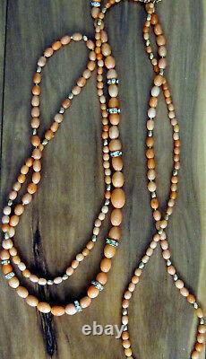 RARE Long Angel Skin Coral & Gold Beaded Necklace One of a Kind