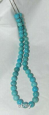 RARE MEXICAN NACOZARI TURQUOISE 9MM ROUND BEADS 15.75 Strand 102D