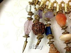 RARE MIRIAM HASKELL FRANK HESS Pre1940 Carved Nuts Beads Stones BRASS Brooch Pin