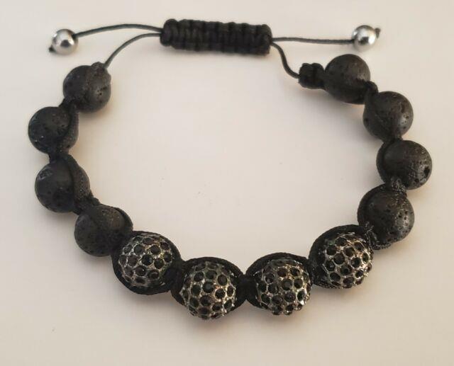 Rare Meteorite Onyx Crystal Black Bead Shambala Bracelet Handmade Retail $1,500