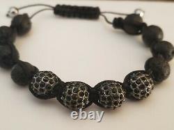 RARE Meteorite Onyx Crystal Black Bead Shambala Bracelet Handmade silver gold