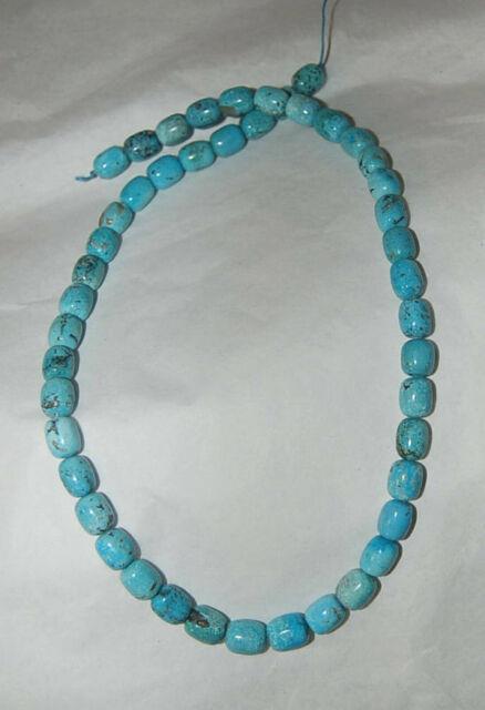Rare Nacozari Mine Turquoise Barrel Beads 17.5 Strand 1764c