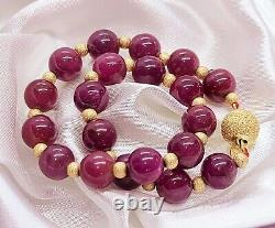 RARE NATURAL AFRICAN RED RUBY 14K GOLD BRACELET 8 80cts AAA+++ AMAZING