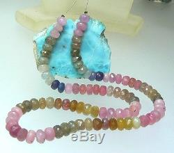 RARE NATURAL BIG FACETED PINK BLUE GREEN SAPPHIRE BEADS 16.5 FULL STRAND 261ct