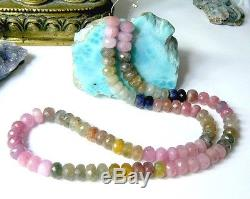 RARE NATURAL BIG FACETED PINK BLUE GREEN SAPPHIRE BEADS 16.75 FULL STRAND 262ct