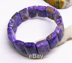 RARE NATURAL CHAROITE RECTANGLE BEADS STRETCH BRACELET 7.5 18mm 296cts AAA+++