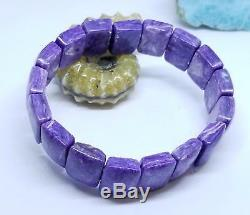 RARE NATURAL CHAROITE RECTANGLE BEADS STRETCH BRACELET 8 18mm 267cts AAA+++