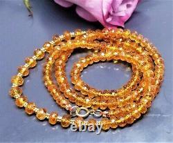 RARE NATURAL FACETED MANDARIN ORANGE GARNET BEADs 14K GOLD NECKLACE 21 AAA+++