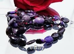 RARE NATURAL FACETED PURPLE AFRICAN SUGILITE NUGGET BEADS 10-11mm 88cts 14