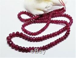 RARE NATURAL FACETED RED RUBY BEADs 3-5mm 67cts 16 STRAND LONGIDO TANZANIA AAAA