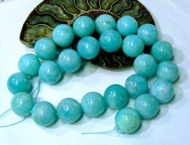 Rare Natural Gem Grade Aqua Blue Peruvian Amazonite Round Beads 16mm 16 Strand