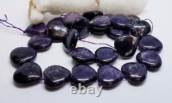 RARE NATURAL PURPLE AFRICAN SUGILITE HEART BEADS 15mm 327cts 15.5 STRAND AAA+++