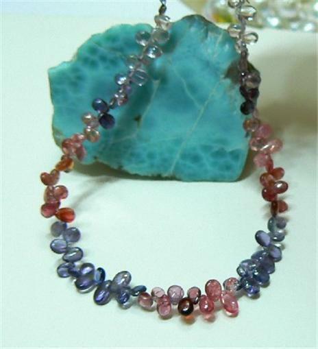Rare Natural Red Gem Grade Pink Blue Spinel Briolette Beads 41ct 8.25 Strand