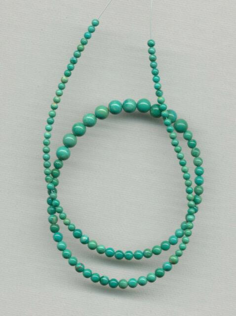Rare Nevada Fox Mine Turquoise Graduated Round Beads 17.5 Strand 702d