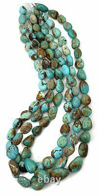 RARE Number 8 Turquoise Rounded Potato Nugget Beads, 16 inch strand