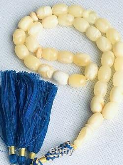 RARE ONE STONE Natural Royal White Baltic Amber Prayer Beads 45gr