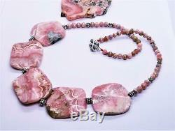 RARE PINK RHODOCHROSITE CARVED 40mm BEADS Sterling Silver NECKLACE 24 FABULOUS