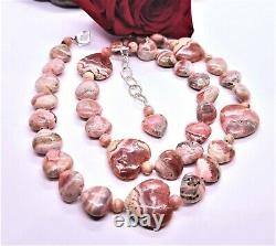 RARE PINK RHODOCHROSITE HEART Beads. 925 Sterling Silver NECKLACE 22-24 AAA+++