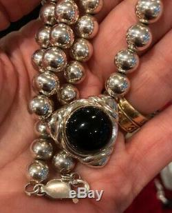 RARE Peter Brams Sterling Onyx Necklace 18 PBD 925 Beads Art Deco
