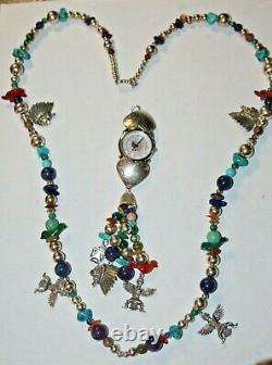 RARE RELIOS Sterling Multi Stone Fetish Bead Necklace + Removable Watch Pendant
