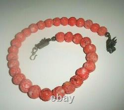 RARE SAKI Sterling Silver 925 Carved Angel Skin Coral Beaded Toggle Necklace