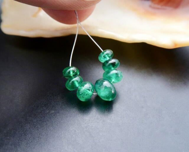 Rare Stunning Gem Grade Aaaaa+ Brazilian Emerald 4.1-6.3mm Beads 4.50cts