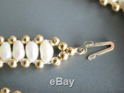 RARE! Solid 14K Yellow Gold Necklace Choker Necklace with Gold Beads/Pearl 16.7gr