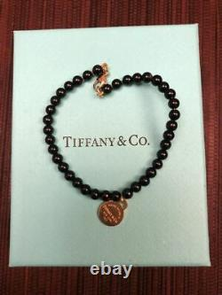 RARE- TIFFANY & CO. 18K 750 Yellow Gold & Black Onyx Round Bead Bracelet