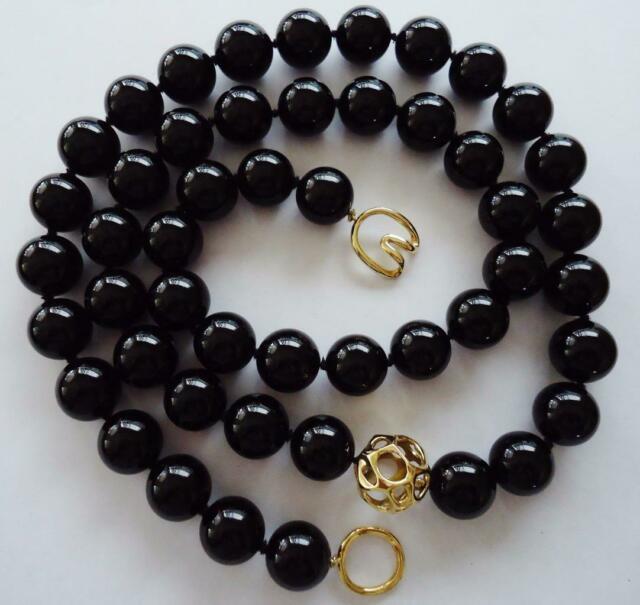 Rare Tiffany & Co. 18k Yellow Gold & 15mm Black Onyx Round Bead 32 Necklace