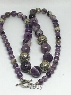 RARE Talia Merav Sterling Silver Beads Amethyst Beads Necklace 29 121g