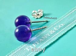 RARE Tiffany & Co Sterling Silver 8mm Amethyst Gem Bead Ball Stud Earrings 20923