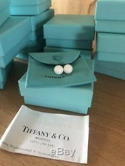 RARE Tiffany & Co White Dolomite 10mm Bead Ball Stud Earrings Sterling Silver