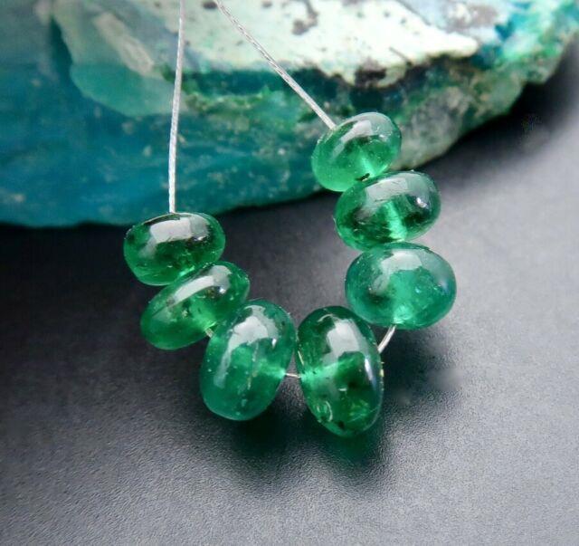 Rare Very High Gem Grade Aaaaa+ Brazilian Emerald Large 4.7-6.2mm Beads 5.35cts