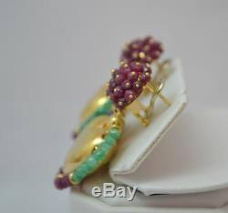RARE VINTAGE 11ct FACETED EME/RUBY/SAPP BEADS 18K HEART ZANCAN EARRINGS Italy