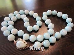 RARE VTG ChineseLarimar Round Bead Necklace w925 Sterling Silver Teardrop Clasp
