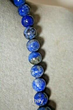 RARE Vintage Jay King Sterling Chunky Graduated Lapis Lazuli Stone Bead Necklace
