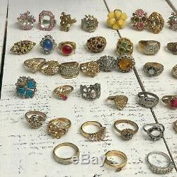 RARE Vintage Lot of 110 GORGEOUS Cocktail Rings Some Signed + 53 Needing Stones