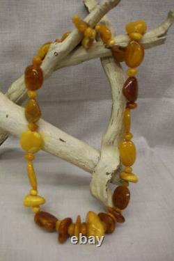 RARE Vintage Natural ORANGE SPHALERITE Polished Gemstone 25 Beaded Necklace