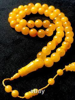 RARE Vintage STONE 45 Egg Yolk Natural Baltic Amber Prayer Beads 52
