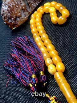 RARE Vintage STONE Natural Baltic Amber Prayer Beads 35gr