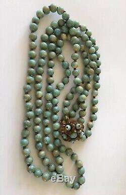 RARE Vintage Stanley Hagler Turquoise Stone Bead Beaded Double Necklace Signed