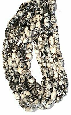 RARE White Buffalo Long Drilled Potato Nugget Designer Beads, 16 inch Strands