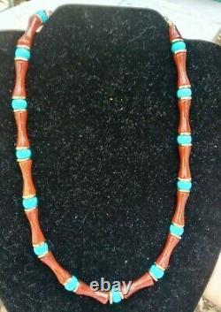 ROBERT LEE MORRIS Rare RLM STUDIO Unusual Agate Turquoise Brass Bead Necklace