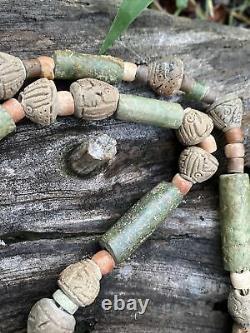 RareMESOAMERICAPre-ColumbianAncientHeavyGreenStoneCarvedBeadsNecklace