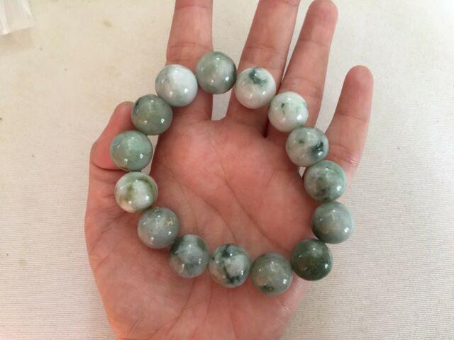 Rare 100%natural Green Jadeite Chinese Jade Bracelet Beads For Men 15mm Expand