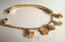 Rare 14k Solid Gold Handmade Turquoise Beaded Curve Bar & Charms Bracelet 5.5l