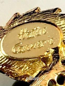 Rare 1940s Hattie Carnegie Black Bead Sapphire Pyramid Stone Floral Brooch
